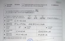 Partida de nacimiento Chiesa 1876 -  Camogli, Genova